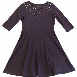 OLD NAVY Dress Girls Dark Purple Stars Crew Neck